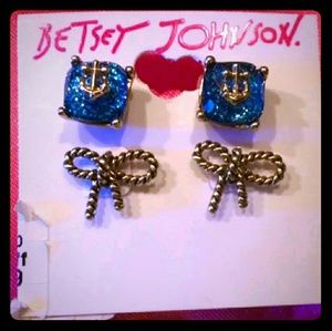 Betsey Johnson ANCHOR BOOST Bow & Anchor Earrings